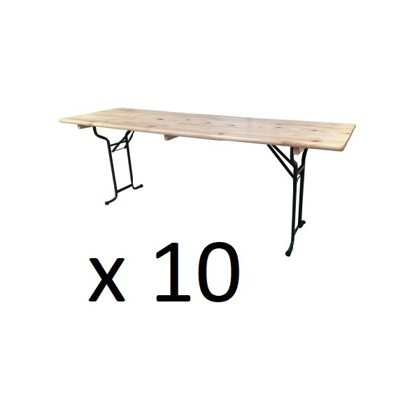 Lot de 10 tables pliantes brasserie rectangle 220 cm x 70 cm