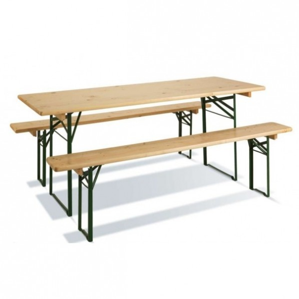 Table pliante brasserie rectangle 220 cm X 70 cm + 2 bancs 220 cm X 27 cm